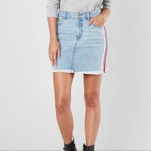Kendall + Kylie Racer Stripe Frayed Denim Skirt